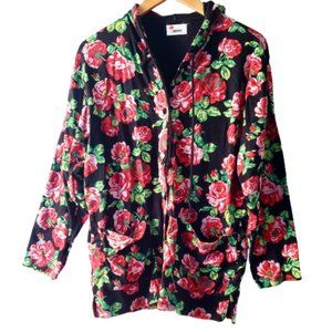 Kenzo Paris Urban Red Roses Long Cotton Hoodie